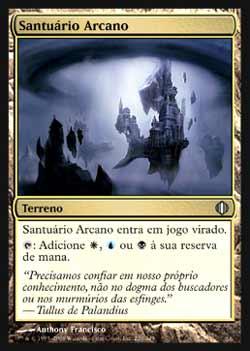 Magic the Gathering Fragmentos de Alara 220 Santuário Arcano - Arcane Sanctum - Incomum - Terreno - Card em Chinês