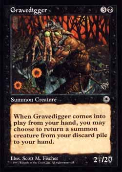 Magic the Gathering Portal 095 Coveiro - Gravedigger - Incomum - Preto